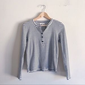 Madewell Ribber Henley in Black and White Stripe